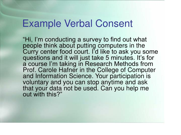 Example Verbal Consent