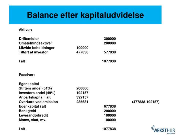 Balance efter kapitaludvidelse