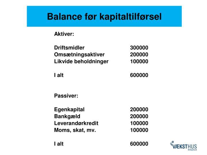 Balance før kapitaltilførsel