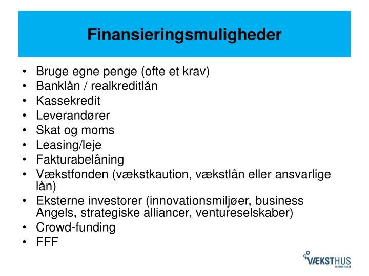 Finansieringsmuligheder