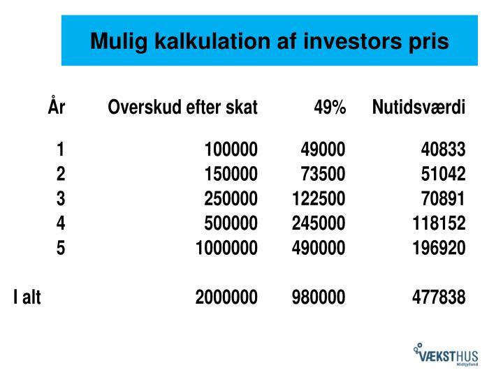 Mulig kalkulation af investors pris