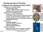 backgrounds of faculty