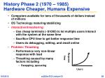 history phase 2 1970 1985 hardware cheaper humans expensive