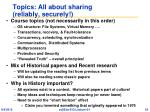 topics all about sharing reliably securely