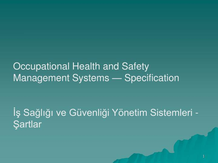 PPT - Occupational Health and Safety Management Systems ...