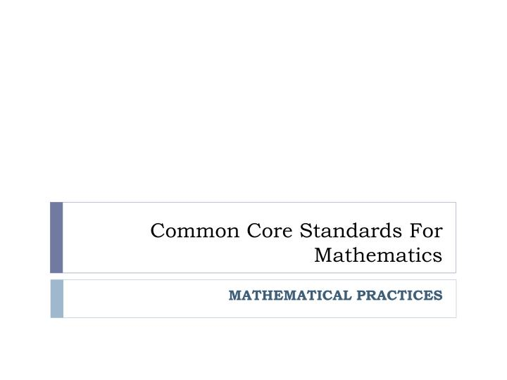 common core standards for mathematics n.
