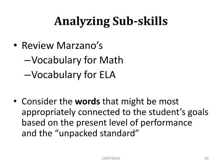 Analyzing Sub-skills