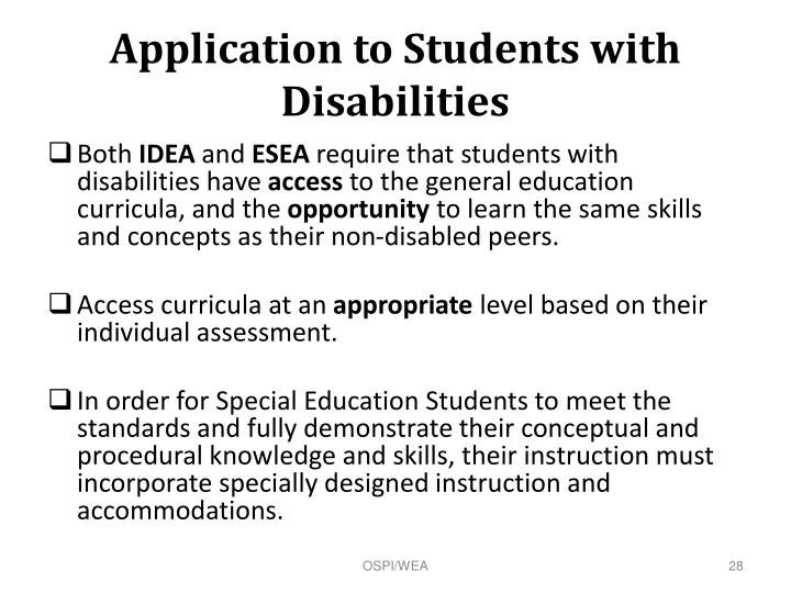 Application to Students with Disabilities