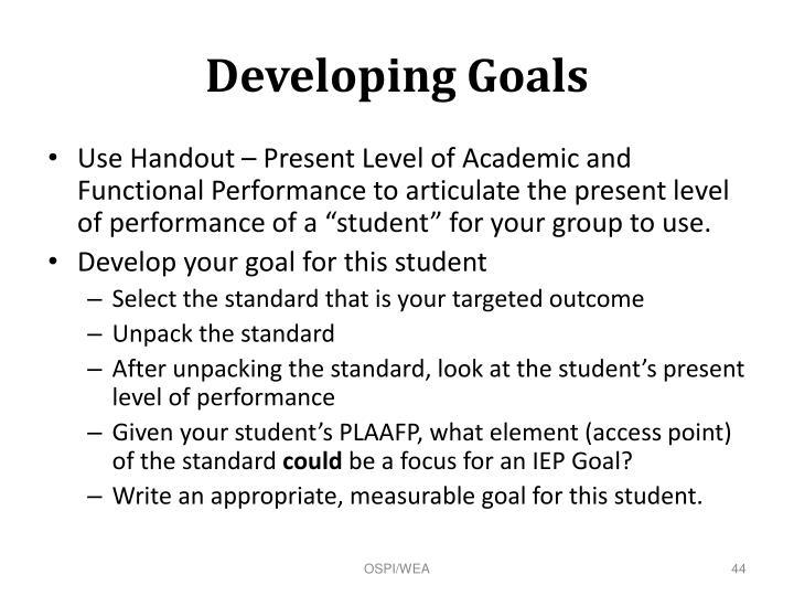 Developing Goals