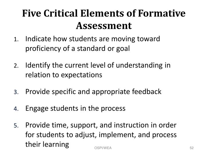 Five Critical Elements of Formative Assessment