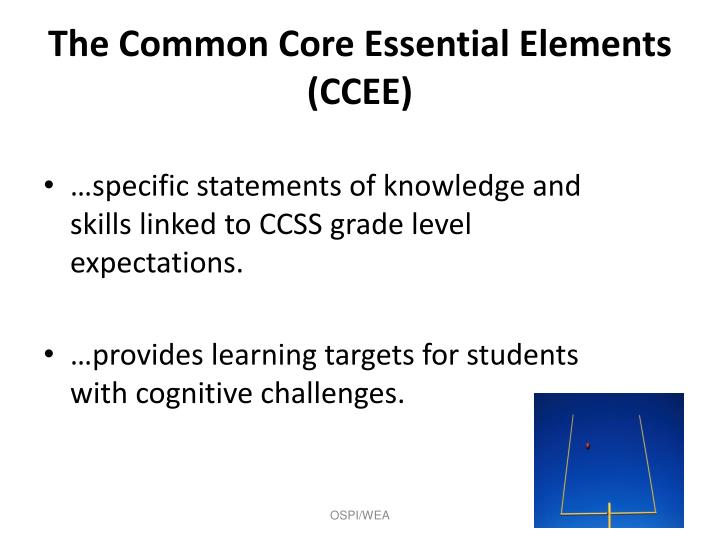 The Common Core Essential Elements (CCEE)