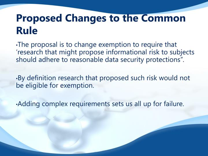 Proposed Changes to the Common Rule