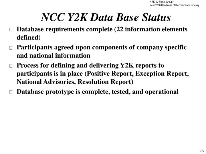 NCC Y2K Data Base Status