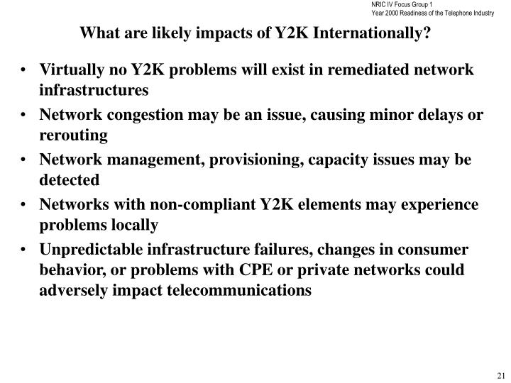 What are likely impacts of Y2K Internationally?
