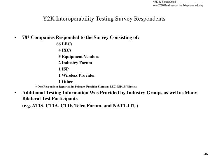 Y2K Interoperability Testing Survey Respondents