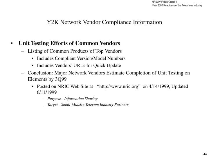 Y2K Network Vendor Compliance Information