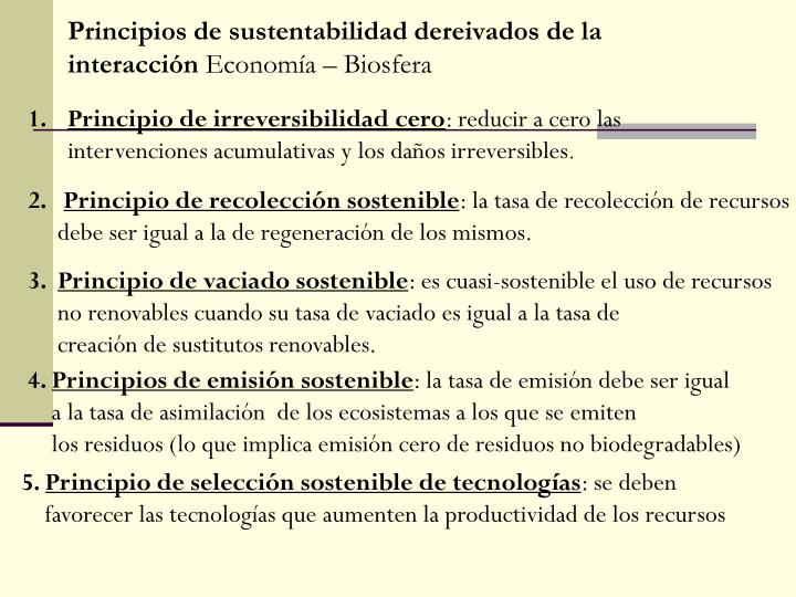 Principios de sustentabilidad dereivados de la interacción