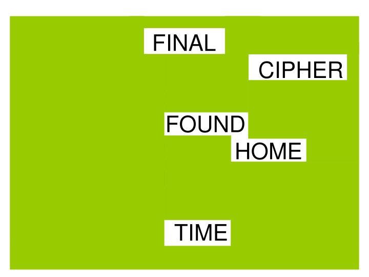 LAST   FINAL   HALF   MONKEY    GIRAFFE  CIPHER