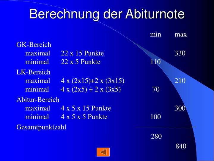 Berechnung der Abiturnote