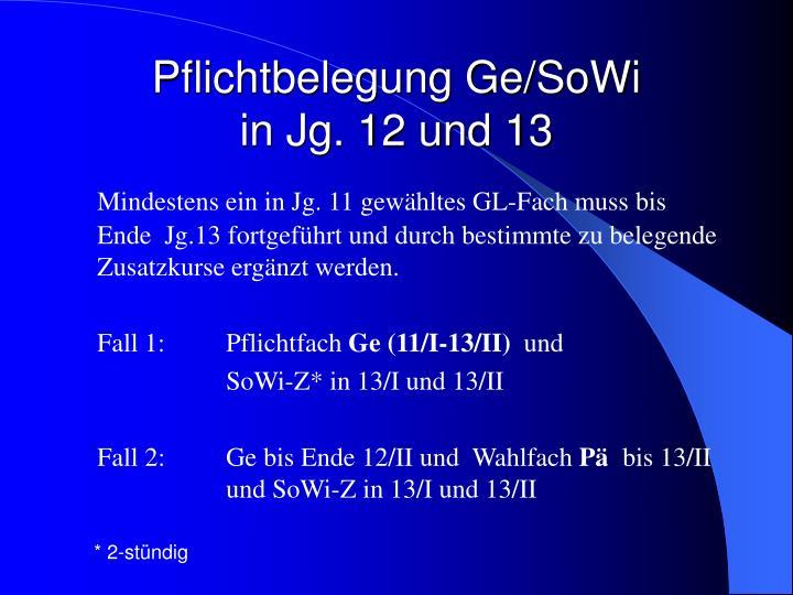 Pflichtbelegung Ge/SoWi