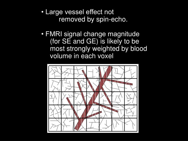 • Large vessel effect not