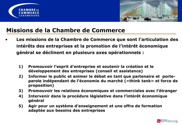 Ppt les missions de la chambre de commerce priorit s for Chambre de commerce de bellechasse