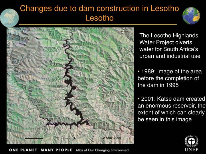 Changes due to dam construction in Lesotho
