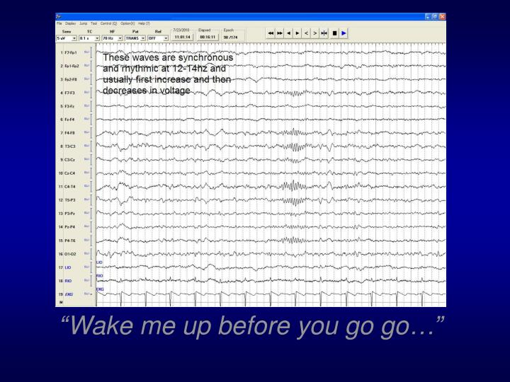 """""""Wake me up before you go go…"""""""