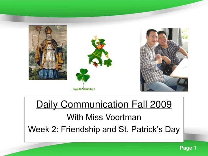 daily communication fall 2009 with miss voortman week 2 friendship and st patrick s day n.