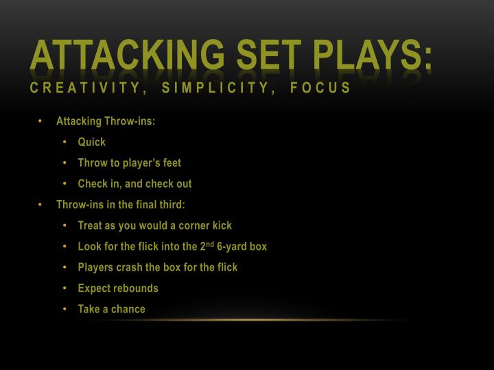 Attacking Set Plays: