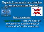 organic compounds can combine to produce macromolecules
