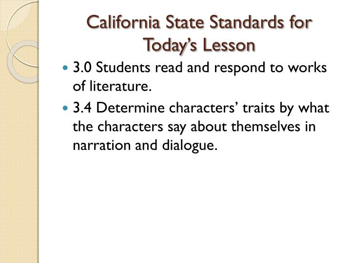 california state standards for today s lesson n.
