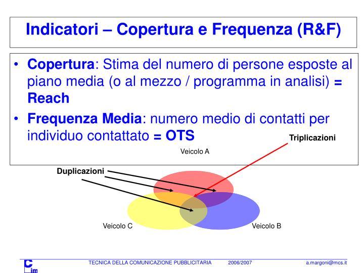 Indicatori – Copertura e Frequenza (R&F)