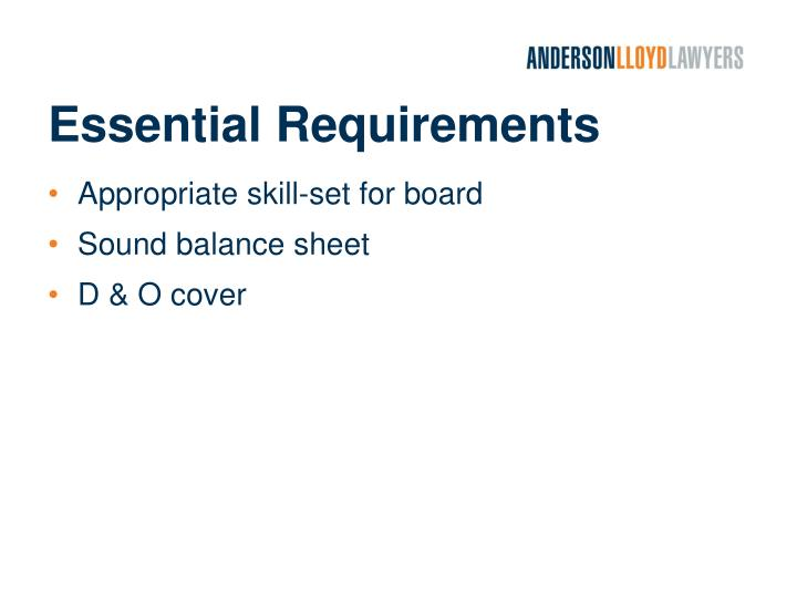 Essential requirements