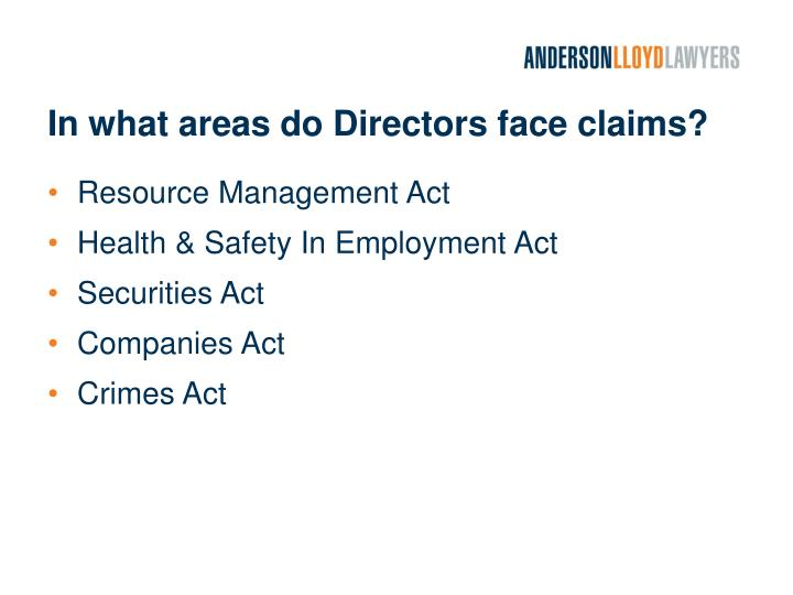 In what areas do Directors face claims?