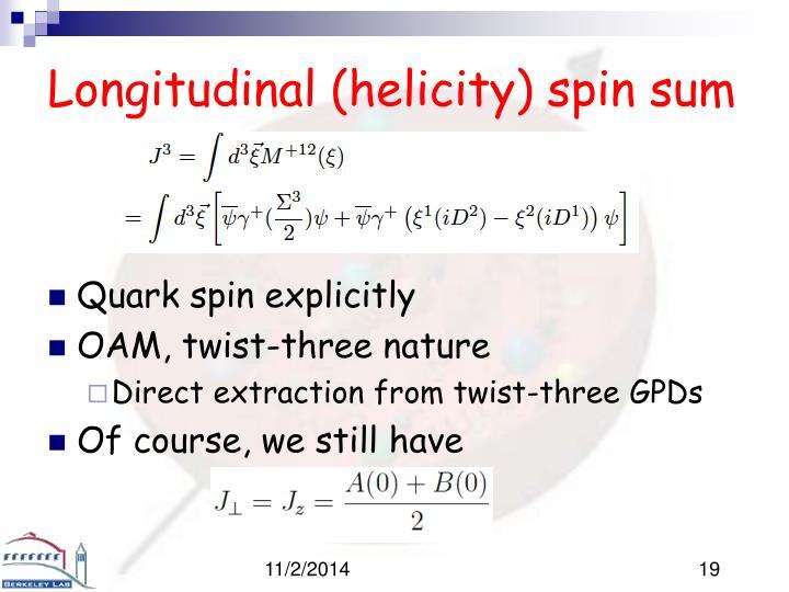 Longitudinal (helicity) spin sum