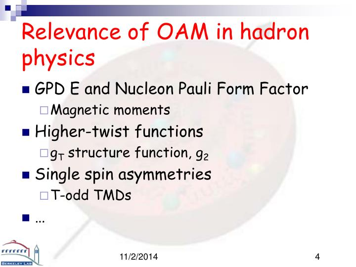 Relevance of OAM in hadron physics