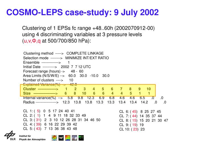COSMO-LEPS case-study: 9 July 2002