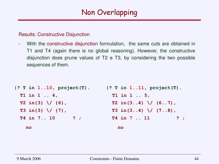Non Overlapping