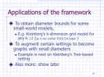 applications of the framework