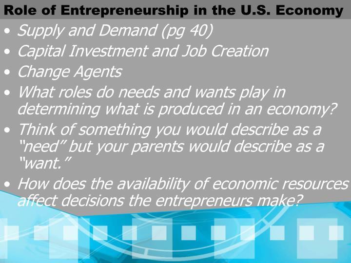 Role of Entrepreneurship in the U.S. Economy