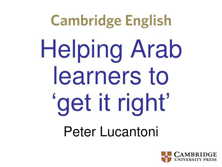 helping arab learners to get it right n.