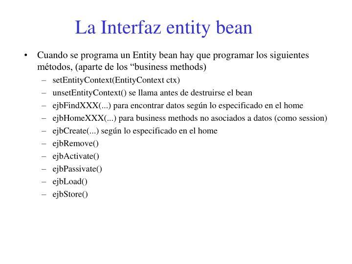 La Interfaz entity bean