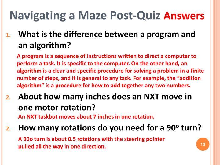 Navigating a Maze Post-Quiz