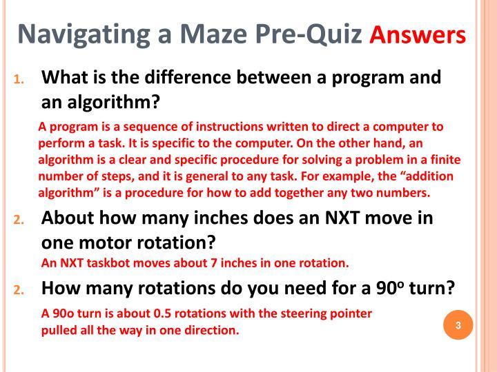 Navigating a maze pre quiz answers