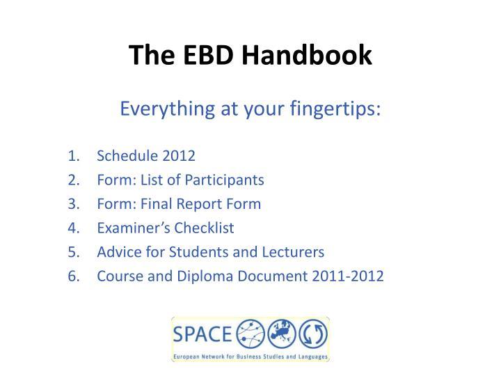 The EBD Handbook