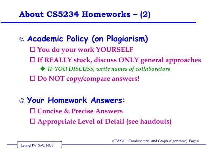 About CS5234 Homeworks – (2)