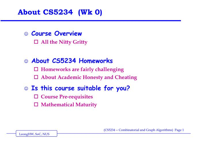 About cs5234 wk 0