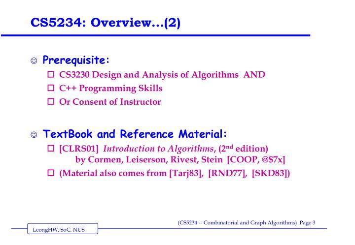 Cs5234 overview 2