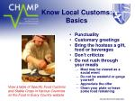 know local customs basics